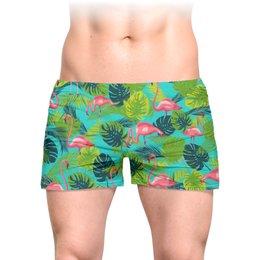 """Трусы мужские с полной запечаткой """"Розовый фламинго"""" - стиль, дизайн, мода, тропики"""