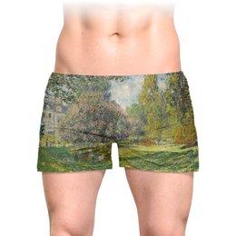 """Трусы мужские с полной запечаткой """"Парк Монсо (Клод Моне)"""" - картина, импрессионизм, природа, живопись, моне"""