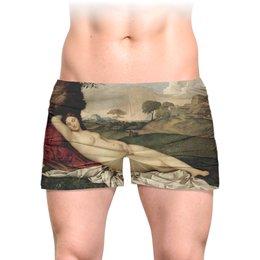 """Трусы мужские с полной запечаткой """"Спящая Венера (картина Джорджоне)"""" - картина, живопись, ню, мифология, джорджоне"""
