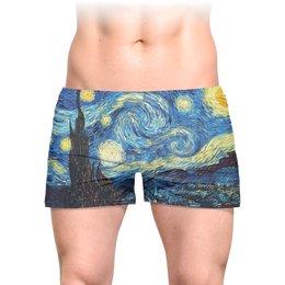 """Трусы мужские с полной запечаткой """"Звездная ночь Ван Гога"""" - картина, подарок, ван гог, живопись, valentine's day"""