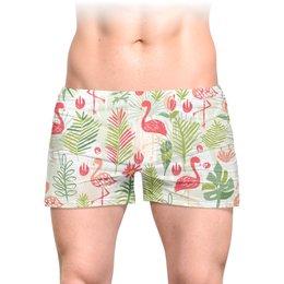 """Трусы мужские с полной запечаткой """"тропики"""" - цветы, листья, природа, тропики, фламинго"""
