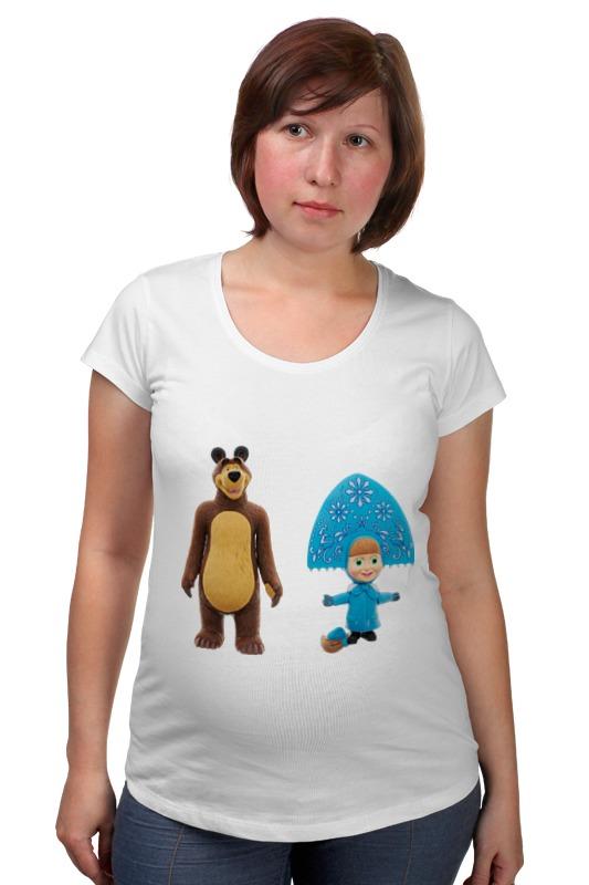 Футболка для беременных Printio Кукла-девочка маша и миша. смешные озорные