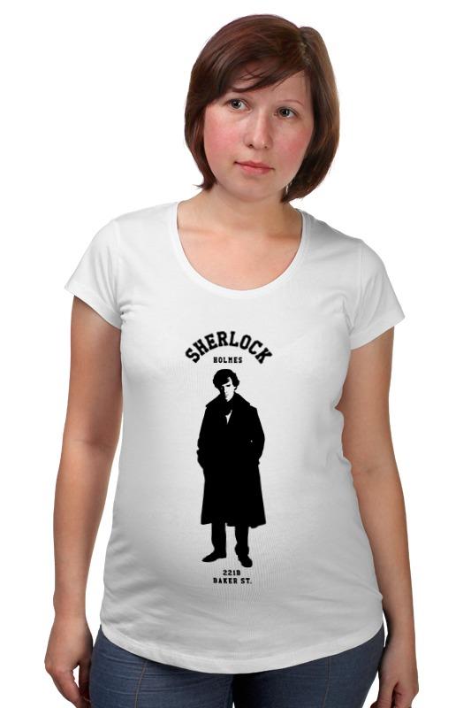 Футболка для беременных Printio Шерлок холмс (sherlock holmes) футболка с полной запечаткой для мальчиков printio шерлок холмс sherlock holmes