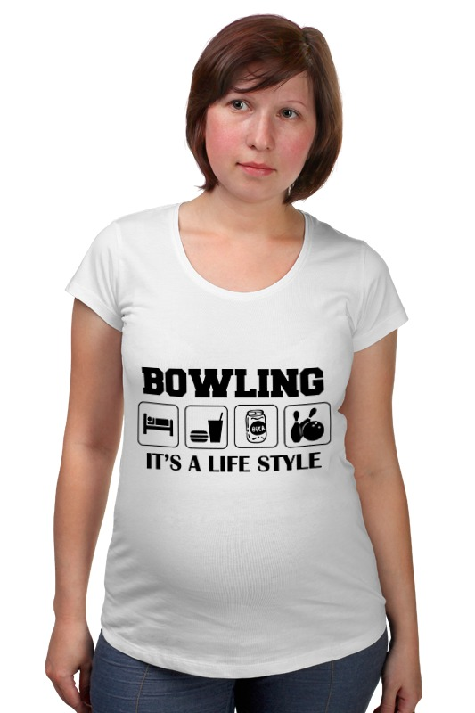 Футболка для беременных Printio Боулинг подвес боулинг белый