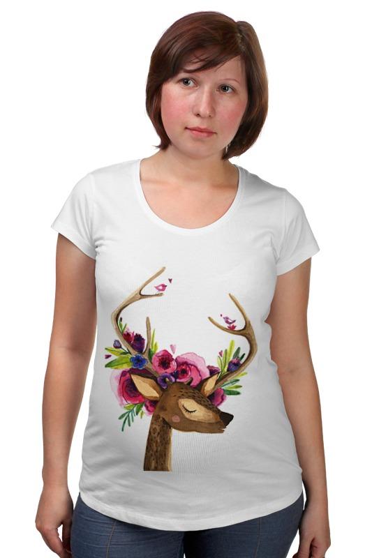 Футболка для беременных Printio Олень с цветами в рогах футболка для беременных printio олень тотем
