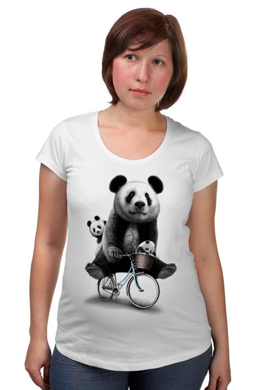 Футболка для беременных Printio Панда на велосипеде позиционеры для сна candide позиционер с подголовником воздухопроницаемая панда air
