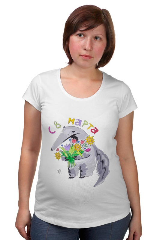 Футболка для беременных Printio Муравьед с цветами майка классическая printio муравьед с цветами