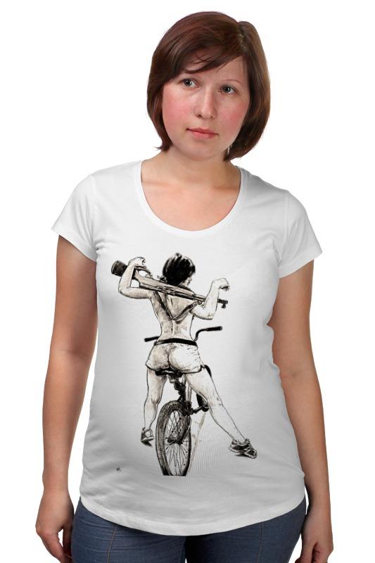 Футболка для беременных Printio Девушка, карабин, велосипед футболка для беременных printio жарю лучше всех