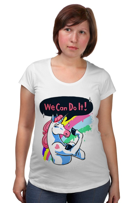 Футболка для беременных Printio We can do it! (unicorn) can we still be friends
