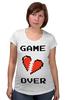 """Футболка для беременных """"Game Over (Игра Окончена)"""" - пиксель арт, 8 бит, 8-bit, расставание, разбитое сердце"""