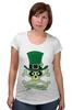 """Футболка для беременных """"Настоящий Ирландец (100% Irish)"""" - череп, клевер, патрик, лепрекон, настоящий ирландец"""