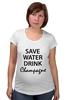 "Футболка для беременных ""Save Water"" - вода, water, шампанское, champagne"