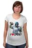 """Футболка для беременных """"Зомби Спорт - Я люблю Спорт"""" - zombie, зомби, зомби спорт, i love sport, я люблю спорт"""