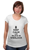 "Футболка для беременных ""Keep calm and believe in sherlock holmes"" - англия, сериал, 2014, bbc, sherlock, moriarty, мориарти, шерлок, британия, uk"
