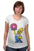 """Футболка для беременных """"Гомер с Пончиком"""" - симпсон, гомер, пончик, the simpsons, donut"""