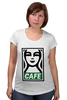 "Футболка для беременных ""Starbucks (Obey)"" - кофе, coffee, starbucks, старбакс, cafe"