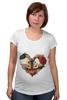 """Футболка для беременных """"Любить друг друга вечно"""" - сердце, цветы, черепа, акварель"""