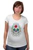 """Футболка для беременных """"Цветочный череп"""" - skull, череп, арт, цветы"""