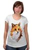 """Футболка для беременных """"Poly Fox"""" - fox, лиса, лисица, полигоны"""