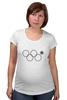 """Футболка для беременных """"нераскрывшееся олимпийское кольцо"""" - олимпиада, 2014, сочи, олимпийские кольца, нераскрывшееся олимпийское кольцо"""