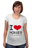 "Футболка для беременных ""I love horses"" - лошадь, лошади, я люблю, horses"