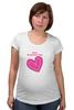 "Футболка для беременных """"LOVE"""" - праздник, день святого валентина, 14-февраля, розовое сердце"