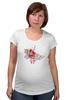 """Футболка для беременных """"бумажный журавлик"""" - узор, красный, акварель, бумажный журавлик, завитки"""