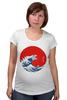 """Футболка для беременных """"Годзилла из волны"""" - япония, japan, ocean, годзилла, godzilla"""