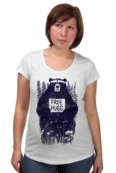 """Футболка для беременных """"Бесплатные объятия"""" - bear, медведь, free hugs, движение"""