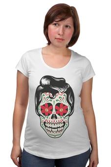 """Футболка для беременных """"Мексиканец"""" - череп, цветы, орнамент, парные, día de muertos"""