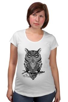 """Футболка для беременных """"Оld owl"""" - сова, филин, owl"""
