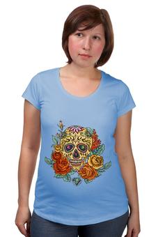"""Футболка для беременных """"Череп"""" - череп, цветы, skull"""