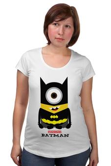 """Футболка для беременных """"Minion Batman                        """" - смешные, приколы, мультики, comics, стиль, batman, супергерои, dc, миньоны, superhero"""