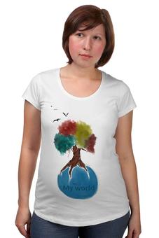 "Футболка для беременных ""My World"" - life, мир, планета, птицы, world, baby, peace, футболка женская, дерево, футболка для беременных"