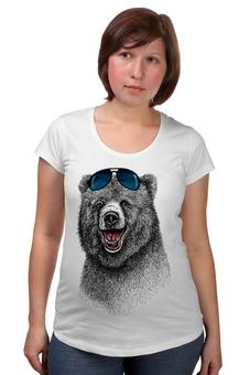 """Футболка для беременных """"Позитивный медведь"""" - bear, медведь, animal, солнечные очки, арт дизайн"""