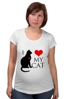 """Футболка для беременных """"Я люблю своего кота"""" - сердце, кот, кошка, котик, я люблю"""