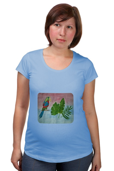 """Футболка для беременных """"Попугай в тропиках"""" - яркий, попугай, тропики"""