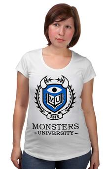 """Футболка для беременных """"Monsters University"""" - мультфильм, кино, cinema, университет монстров, monsters university"""