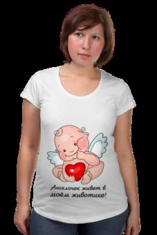 """Футболка для беременных """"Ангелочек живет в моем животике"""" - прикольно, прикол, девушка, юмор, смешные, приколы, смешное, авторские майки, футболка, популярные"""