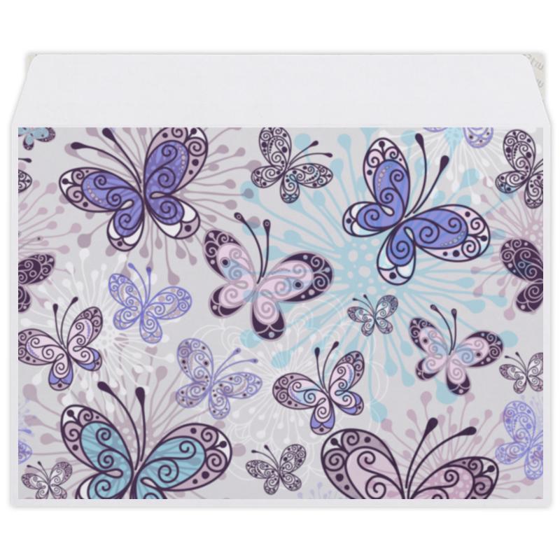 Конверт средний С5 Printio Фиолетовые бабочки цена