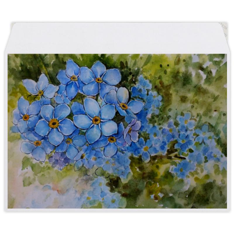 Конверт средний С5 Printio Голубые незабудки набор для творчества бусины керам на силикон нити 10шт 12мм a06 незабудки голубые