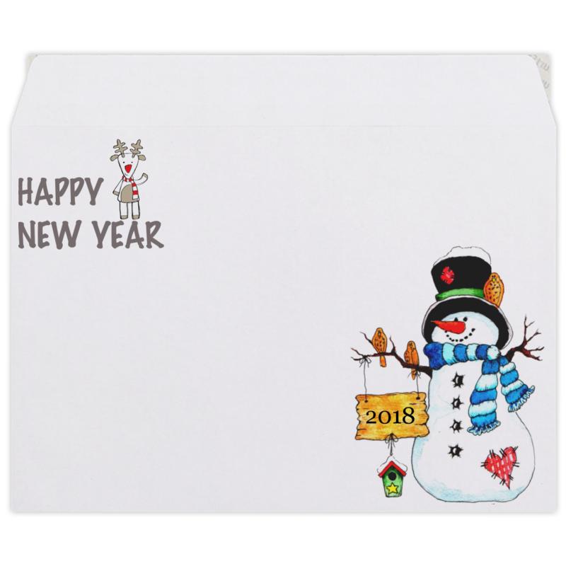 Конверт средний С5 Printio Happy new year 2018 елена дильбанж поздравительные открытки