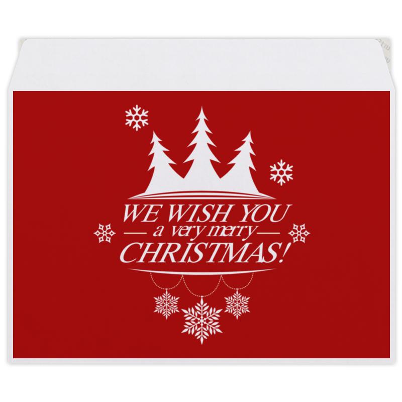 Конверт средний С5 Printio Merry x-mas бумага пергаментная rayher счастливого рождества
