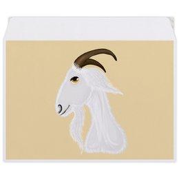 """Конверт средний С5 """"Голова белого козла"""" - голова, злость, изумление, белый козел, удивленный козел"""