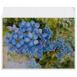 """Конверт средний С5 """"Голубые незабудки """" - цветы, рисунок, незабудки"""