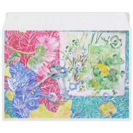 """Конверт средний С5 """"Ключи. Лето-Осень"""" - цветок, коллаж, розовый, оригинальный, акварель"""