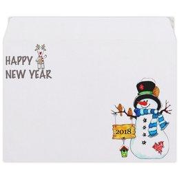 """Конверт средний С5 """"Happy New year 2018"""" - снеговик, новыйгод, 2018, happynewyear"""