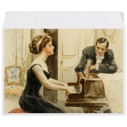 "Конверт средний С5 ""День Святого Валентина"" - арт, настроение, винтаж, 14фев, harrison fisher"