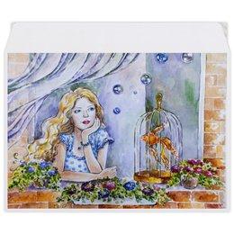 """Конверт средний С5 """"Сны - мечты"""" - девушка, рисунок, иллюстрация, золотая рыбка"""