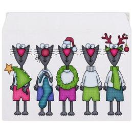 """Конверт средний С5 """"Новогодние коты"""" - елка, звезда, носок, рога, колпак"""